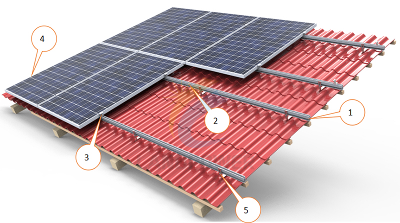 tile roof solar mounting structure